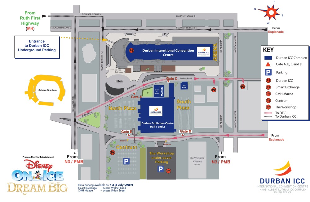 Durban ICC Parking Plan for Disney on Ice 2018